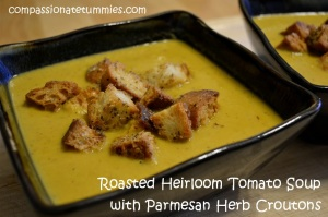 Roasted Heirloom Tomato Soup with Parmesan Herb Croutons | Home of the ...