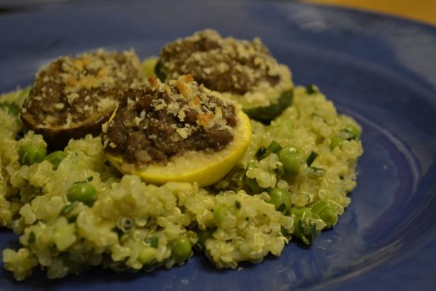 Baby Veggie Bites over Green Quinoa Salad