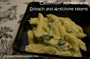 Cauliflower Alfredo with Spinach and Artichoke Hearts