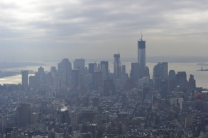 Hazy view of the Freedom Tower being built from the top of the Empire State Building