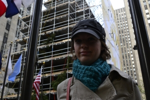 The Christmas tree at Rockefeller Center being decorated behind me