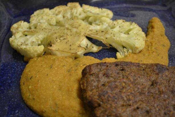 Mushroom Seitan and Roasted Cauliflower Steaks with Carrot Polenta