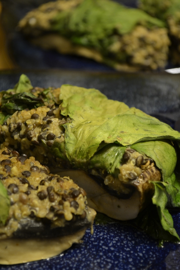 Collard Wrapped Stuffed Portobellos