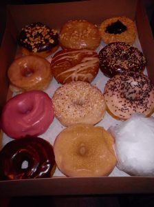 Our box of goodness from Dun-Well Doughnuts