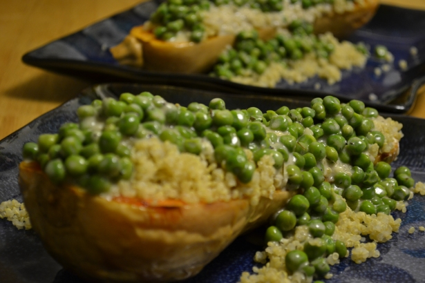Ranchy Peas and Quinoa Over Squash