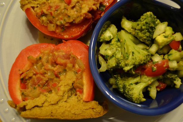 Tamale Pot Peppers with Broccoli Avocado Salad