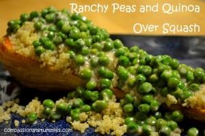 Ranchy Peas and Quinoa Over Squash