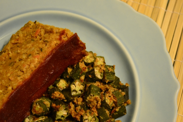 Baked Okra with Lentil Veggie Loaf
