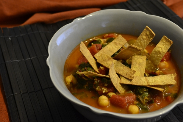 Chickpea Tortilla Soup with Red Chard