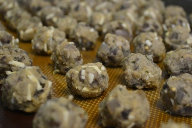 Eggplant Mushroom mini meatballs before cooked