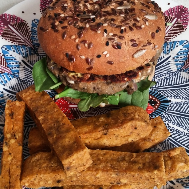 Eggplant Mushroom Burger and Chickpea Fries